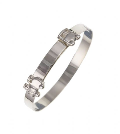 Baby's Silver Train Expanding Bangle